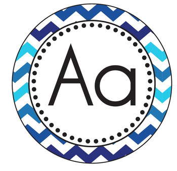 Blue Chevron Themed WORD WALL Letter Cards