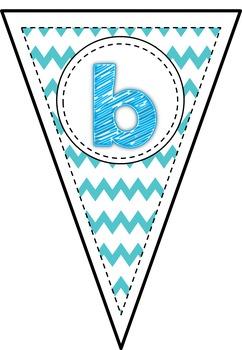 Blue Chevron Alphabet Bunting