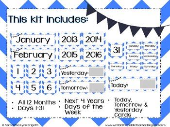 Blue Chevron and Navy Bunting Calendar Kit
