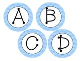 Blue Chevron circle ABC letter labels