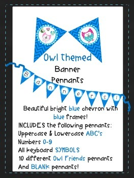 Blue Chevron with Blue Frame & Owls Pennants AaBbCc'a 123 All Symbols & BLANKS