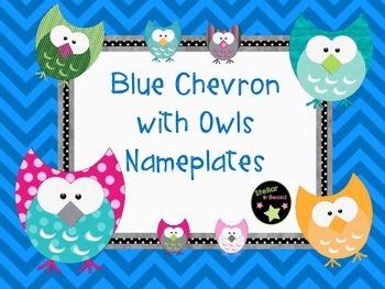 Blue Chevron with Owls Nameplates FREEBIE