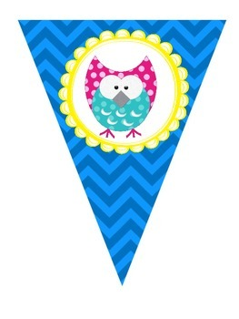 Blue Chevron with Yellow Frame & Owls Pennants AaBbCc'a 123 All Symbols & BLANKS