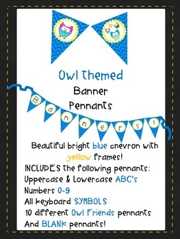 Blue Chevron with Yellow Frame & Owls Pennants AaBbCc'a 12