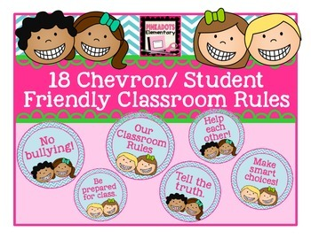 Blue Chevron/Student Friendly/ Circular Classroom Rules! 18!!