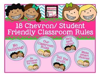 Blue Chevron/Student Friendly/ Circular Classroom Rules! 18!!
