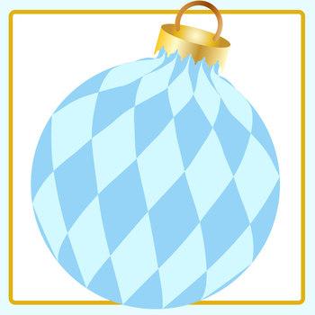 Blue Christmas Baubles Clip Art Set for Commercial Use
