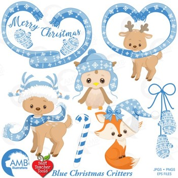 Blue Christmas Clipart, Reindeer, Owl, Fox Clipart, Forest Critters, AMB-1515