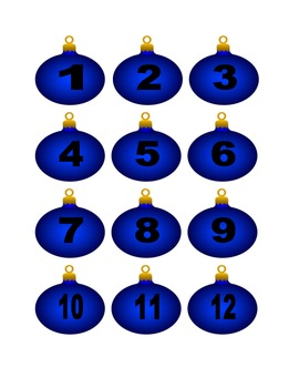 Blue Christmas Ornament Numbers for Calendar or Counting Activity