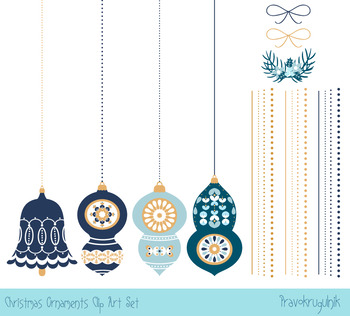 Blue Christmas tree ornaments clipart collection, Christmas ornaments set