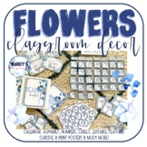 Blue Classroom decor with Flowers EDITABLE nameplate