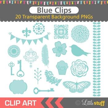 Blue Clipart, Turquoise Design Elements Clip Art