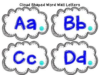 Blue Cloud Shaped Word Wall Set
