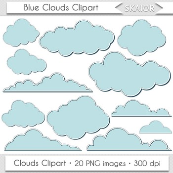 Blue Clouds Clip Art Digital Clouds Clipart Scrapbooking C