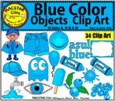 Blue Color Objects Clip Art English & Spanish Personal and Commercial Use