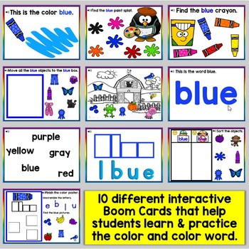 Blue Color Recognition Color Word Boom Cards (Learning Colors - Blue)