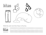 Blue Color and Write Worksheet