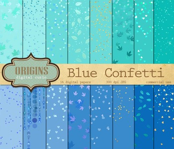 Blue Confetti Digital Scrapbook Paper
