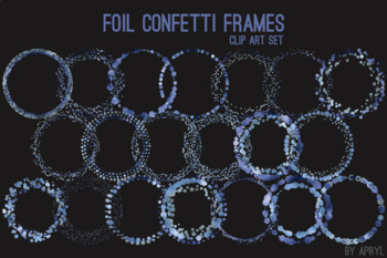 Blue Confetti Round Frames 20 PNG Clip Art 8in Foil Metallic S2