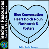 Blue Conversation Heart Dolch Sight Word Posters & Flash Cards Nouns
