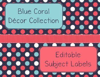 Blue Coral Decor: Editable Subject Labels