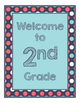 Blue Coral Decor: Navy & Dots Welcome Poster