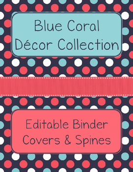 Blue Coral Decor: Editable Binder Covers & Spines