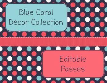 Blue Coral Decor: Editable Passes
