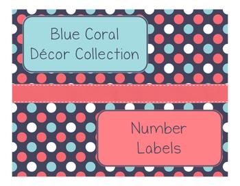 Blue Coral Decor: Number Labels