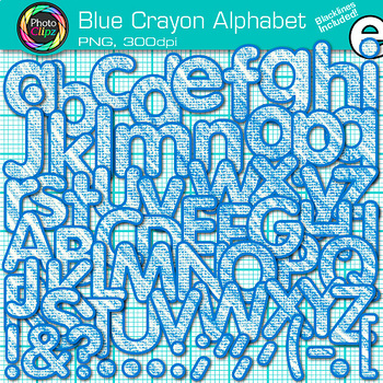 Blue Crayon Alphabet Clip Art {Great for Classroom Decor & Resources}