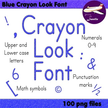 Alphabet Clip Art - Blue Crayon Look, Numerals, Punctuatio