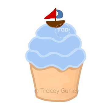 Blue Cupcake with Sailboat - cupcake clip art Printable Tracey Gurley Designs