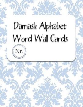 Blue Damask Alphabet Word Wall Cards