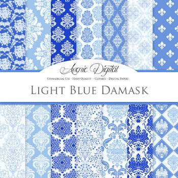 Blue Damask Digital Paper patterns - ornate floral backgrounds