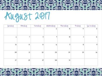 Blue Damask Patterned Calendars (2017-2018)
