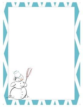Blue Diamond Snowman Thematic Writing and Drawing Paper Christmas Winter