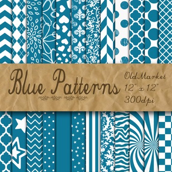 Blue Digital Paper - Blue Pattern Designs - 24 Papers - 12 x 12