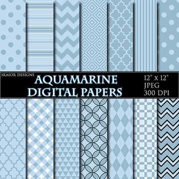 Blue Digital Papers Aqua Chevron Zigzag Baby Boy Polka Dot Plaid Stripes