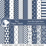 Blue Digital Scrapbook Papers with Chevrons Stripes Polka Dot & Floral Patterns