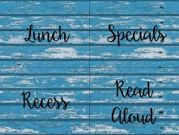 Blue Distressed Wood Schedule Signs **Free Version