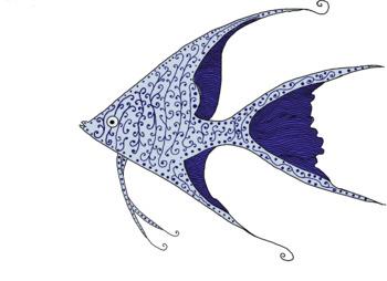 Blue Doodle Fish