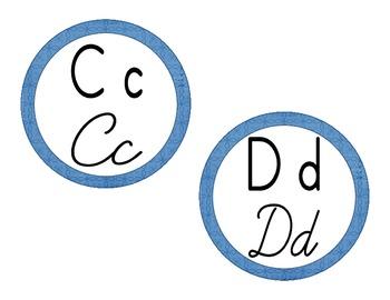 Word Wall Headings: Blue Doodle (Manuscript & Cursive)