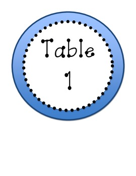 Blue Dotted Table Numbers & Center Labels