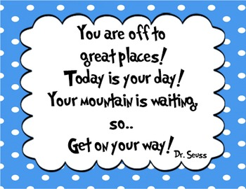 5 Blue - Dr. Seuss Quote decor