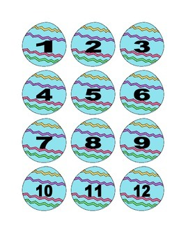 Blue Easter Egg Numbers for Calendar or Counting Activity