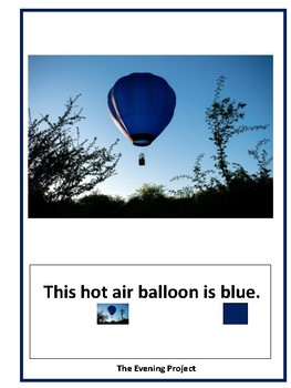 Blue Emergent reader with real photographs for Autism and Special Education