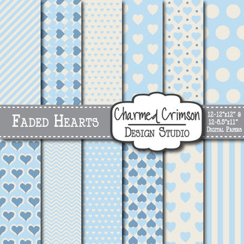 Blue Faded Heart Digital Paper 1296