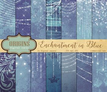 Blue Fairy Lights backgrounds digital paper old vintage paper textures