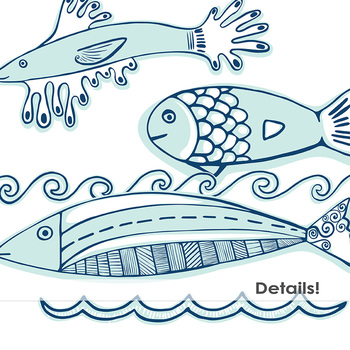 Blue Fish ClipArt, Nautical Clip Art,  Ocean Waves, Sea Life Graphics