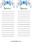 Blue Floral Menu Set